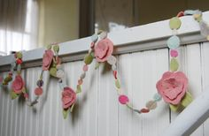 pastel pink flower garland from upcycled felt 8 by bigbrownhouse Faux Flower Arrangements, Flower Garlands, Faux Flowers, Pink Flowers, Mobiles, Homemade Easter Baskets, Sewing Crafts, Sewing Projects, Diy Banner