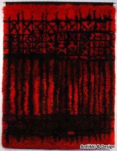 """Kirsti Ilvessalo """"Täysikuu""""-ryijy, Suomen Käsityön Ystävät 1 - Antiikki & Design - AntiikkiShop Rya Rug, Tapestry Weaving, Finland, Arts And Crafts, Carpet, Birches, Colours, Rugs, Vintage"""