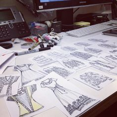 work sketches, fashion design, dresses and sweaters, annie lim , ajlim