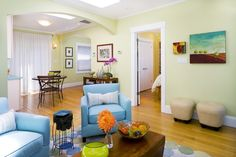 living rooms with teal and blue furniture - Google Search