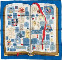 "Luxury Accessories:Accessories, Hermes 90cm Blue, White & Red ""Chiffres et Monogrames,"" by LiseCoutin Silk Scarf. ..."