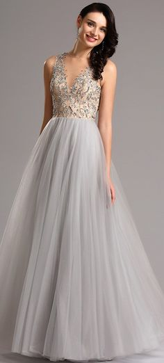 Plunging Illusion Neck Beaded Bodice Prom Gown