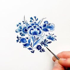 Delft flower pattern in watercolor - by Lemontree Calligraphy & Illustration