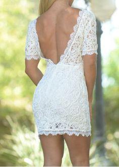 Stylish Round Neck Short Sleeve Backless Bodycon Dress For Women