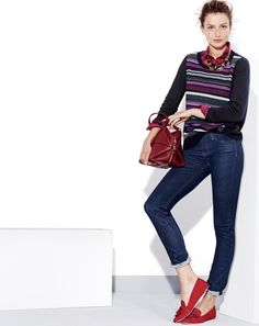 J.Crew matchstick pants and textured stripe sweater. [more at pinterest.com/eventsbygab]