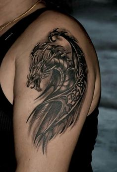 20 Mystical Dragon Tattoos and Their Meanings Band Tattoos, Celtic Tattoos, Viking Tattoos, Star Tattoos, Arm Band Tattoo, Body Art Tattoos, Leg Tattoos, Tattoos For Guys, Dragon Tattoos