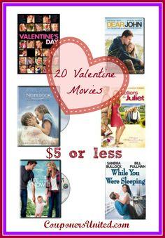 Valentine's Day Frugal gift idea - Valentine's Movies UNDER $5 - Long List  #valentinesday #romance #romancemovies