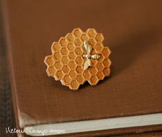 Tiny Gold Bee and Honeycomb Brooch - Clutch Pin - Ready to Ship. $25.00, via Etsy.