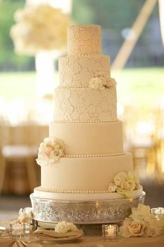 Photo: Artisan Events; Gold and Crystal Illinois Wedding at the Exmoor Country Club  - wedding cake  idea