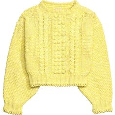 Knitted jumper 249 ❤ liked on Polyvore featuring tops, sweaters, jumpers sweaters, short sweater, jumper top, short tops and yellow top