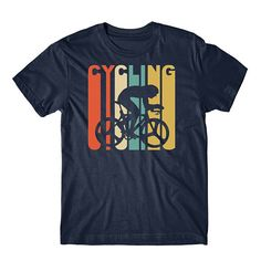 Retro Cycling Shirt - Vintage Style Cyclist Silhouette T-Shirt by Really Awesome Shirts Cycling T Shirts, Bike Shirts, Shirt Print Design, Tee Shirt Designs, Cycling Outfit, Personalized T Shirts, Printed Shirts, Custom T, Pullover