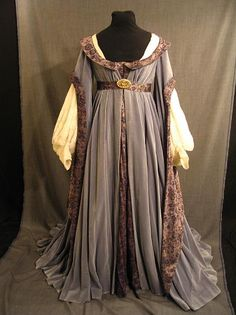 Gown Medieval slate blue velvet change color of gown and trim collar and sleeve edges in fur trim for a winter wedding