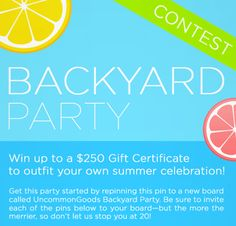 Summer is finally here and we can't wait for backyard barbecues and picnics in the park. In fact, we have been Pinning about it all winter and now want to see your summer inspiration boards! One lucky winner Pinner willreceivean UncommonGoods gift card to furnish their summer party.