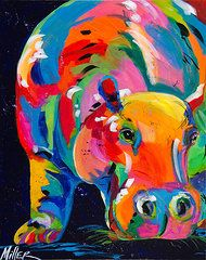 hippos, paintings | Hippo Paintings - Blue Hippo by Tracy Miller