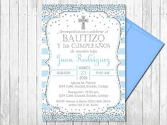 SPANISH Blue and Silver Baptism and First Birthday Invitation, Boy, Christening Invite, Glitter Conf Baby Boy Baptism, Baptism Party, Baby Christening, Baptism Ideas, Baptism Invitation For Boys, Christening Invitations, First Birthday Invitations, Blue And Silver, Pink And Gold