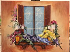 """Garden Balcony""  painted by Amber Lynn Ashby Jaques. A birthday gift for her mom, this painting was inspired from a YouTube acrylic painting lesson on Ginger Cook Live'https://youtu.be/vByxdtgKU-o"