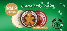 Druk bezig met het kopen van kerstcadeaus? Bij The Body Shop krijg je bij besteding van €30 een gratis body butter en betaal je tevens geen verzendkosten.   Bespaar op een extra cadeau en geef deze body butter! Of houd 'm lekker zelf natuurlijk.