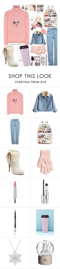 """""""Untitled #115"""" by biinabnab ❤ liked on Polyvore featuring Shrimps, Topshop, Anya Hindmarch, Jennifer Lopez, Givenchy, Clinique, The Body Shop, Forever 21, Polaroid and Allstate Floral"""
