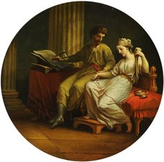 Antonio Zucchi - Catullus comforting Lesbia over the Death of her Pet Sparrow and writing an Ode