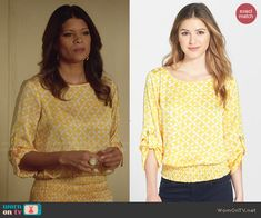 Xiomara's yellow printed top on Jane the Virgin.  Outfit Details: http://wornontv.net/48173/ #JanetheVirgin