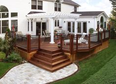 If your home is small and you want to increase its area then you can do this by adding a pergola deck to anyone wall of house from outside. It is very easy to build a deck pergola outside your home for that you just have to choose the wall to start. Patio Pergola, Deck With Pergola, Backyard Patio, Pergola Kits, Pergola Ideas, Vinyl Pergola, Railing Ideas, Wood Pergola, Pergola Images