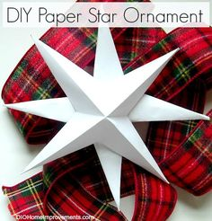 diy paper star ornament, christmas decorations, crafts, seasonal holiday d cor Diy Christmas Star, Christmas Ornaments To Make, Homemade Christmas, Christmas Projects, Holiday Crafts, Christmas Decorations, Christmas Ideas, Holiday Fun, Holiday Decor