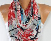 Silky Chiffon Scarf Multicolor Infinity Scarf So Soft Lightweight Scarf Wrap Tree Print Scarf Women Fashion Accessories Gift Ideas For Her