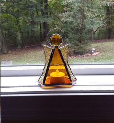 Amber stained glass Angel candle holder by GlassHouseTreasures