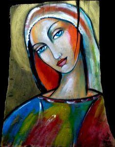 Madonna  na starej, pękniętej desce 41cmx32cm  http://sercemmalowane.blogspot.com/