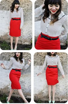 I want a red pencil skirt. I love the mint flats with this outfit.