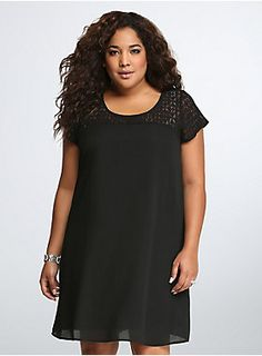 "<p>Time to shift into a new style. A breathable shift dress is lovely in lace with a peekaboo lace inset along the shoulders and yoke. Easily dressed up or down, this is your new fave LBD.</p>  <p> </p>  <p><b>Model is 5'10"", size 1</b></p>  <ul> 	<li>Size 1 measures 39"" from shoulder</li> 	<li>Polyester/cotton/nylon</li> 	<li>Wash cold, dry low</li> 	<li>Made in USA plus size dress</li> </ul>"