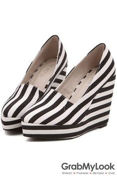 c3f84d355bb0 GrabMyLook Black White Zebra Point Head Stripes Platforms Wedges Women  Loafers Shoes Heels Wedge Shoes