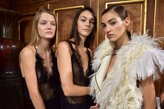 Tom Pecheux created a minimal make-up look at Lanvin, with glowing skin and the softest sprinkling of glitter on the eyelids. #Lanvin #Makeup