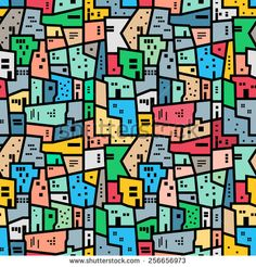 Brazilian favela. Bright colored seamless pattern. Vector background.