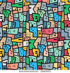 Brazilian favela. Bright colored seamless pattern. Vector background.