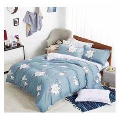 7dílné bavlněné povlečení 140x200 cm   Bílé květy   Modrá Comforters, Blanket, Bed, Home, Creature Comforts, Quilts, Stream Bed, Ad Home, Blankets