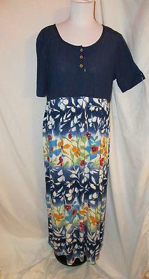 Sz 4 Carole Little Sport Dress Navy Floral Short Sleeve German Rayon Maxi Spring SOLD