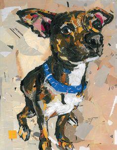 Dog Collage Portrait Gus by MaritzaHernandezArt on Etsy, $100.00
