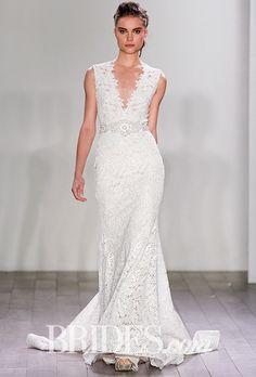 Brides: Lazaro - Fall 2016. Style 3611, venise lace trumpet wedding dress with beaded belt at the waist, Lazaro