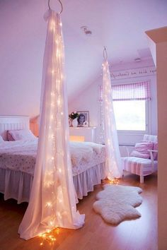 Amazing Lighting Canopy In Small Teenage Girl Bedroom With Sloping Ceiling And Unique Rug On Wooden Floor As Well Striped Chair Corner Beside Small Window Teenage Girl Bedroom Design Looks Chic with Colorful Ideas Bedroom design Teenage Girl Bedroom Designs, Teenage Girl Bedrooms, Attic Bedroom Ideas For Teens, Attic Bedroom Small, Diy Room Decor For Teens, Woman Bedroom, Girls Bedroom, Bedroom Decor, Bedroom Lighting