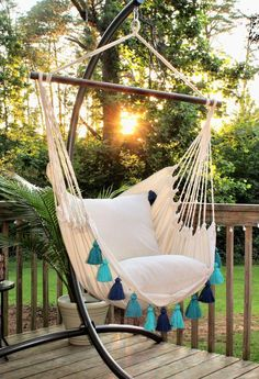 Turquoise Hammock Chair with Tassels- Boho style hammock swing chair - Indoor and Outdoor Hanging Chair - Macrame indoor hammock chair - Modern Design Indoor Outdoor, Indoor Swing, Porch Swing, Outdoor Decor, Outdoor Living, Indoor Hammock Chair, Outdoor Hammock, Deck Hammock Ideas, Hammocks