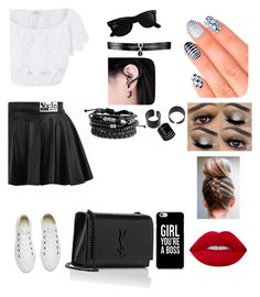 """""""Как вам?)"""" by lovekikk ❤ liked on Polyvore featuring Miguelina, Converse, Yves Saint Laurent, Fallon, Ray-Ban, Lime Crime and Elegant Touch"""