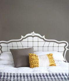 Baroque Headboard Decal  www.beautifulwalldecals.com #decal #headboard #bed #decor #walldecal #wall