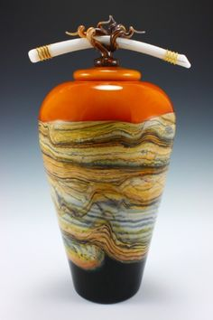 Tangerine jar w/bone finial hand blown glass by Gartner Blade
