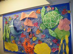 paper ocean display   Finding Nemo Display, classroom display, seaside, sea, jellyfish ...
