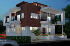 Panash Design Studio - Take a look of our best design list of Commercial Elevation Projects. Village House Design, Kerala House Design, Unique House Design, House Design Photos, Minimalist House Design, Architecture Building Design, Home Building Design, Building A House, Architecture Interiors