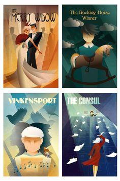 Vintage poster illustrations showcasing Opera Saratoga's summer season. Artwork by C!N #design #artdeco #posterdesign