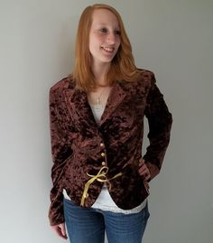 Vintage jacket blazer fitted brown velvet mod by LilaCInspirations, $32.00