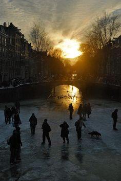 Winter sunset in Amsterdam, Netherlands