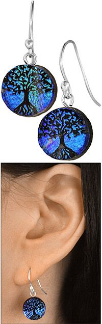Dichroic Glass Tree Of Life Earrings at The Hunger Site